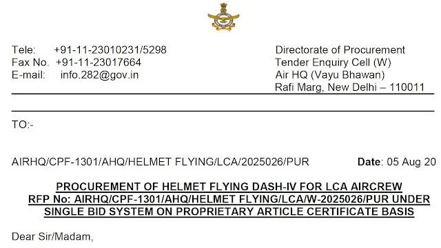 DASH-IV HMDS - Light Combat Aircraft Tejas - LCA Tejas - Indian Air Force - RFP - 01