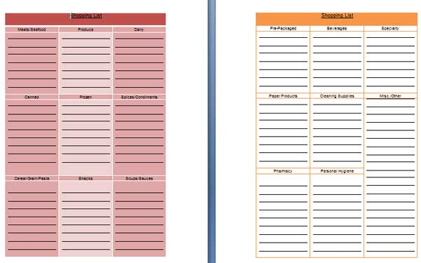 shopping list template - grocery list template word