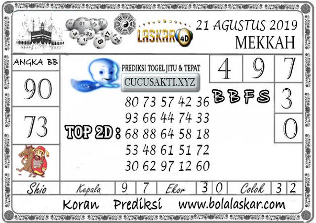 Prediksi Togel MEKKAH LASKAR4D 21 AGUSTUS 2019