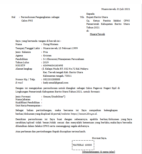 Contoh Surat Lamaran Cpns 2021 Kepada Bupati Unrang