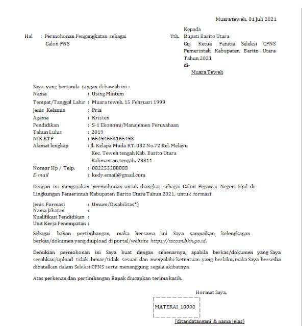 contoh surat lamaran cpns 2021