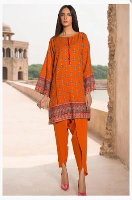 warda printed khaddar shirt orange color winter collection
