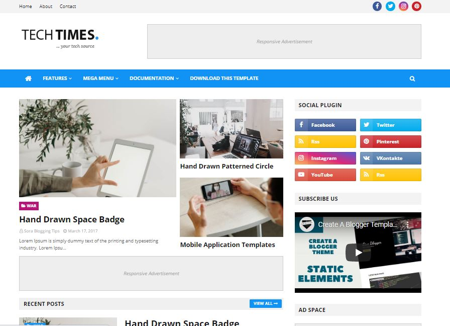TechTimes Blogger Template without Footer Credit Free Download