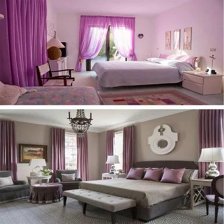 غرفة نوم باللون بيج مع بنفسجي