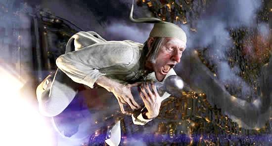 Scrooge on building A Christmas Carol 2009 animatedfilmreviews.blogspot.com