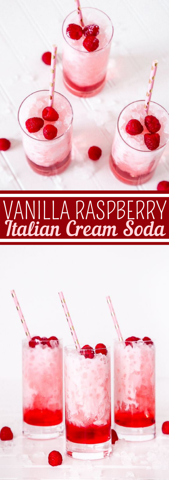 Vanilla Raspberry Italian Cream Soda #drink #recipes #nonalcohol #soda #summer