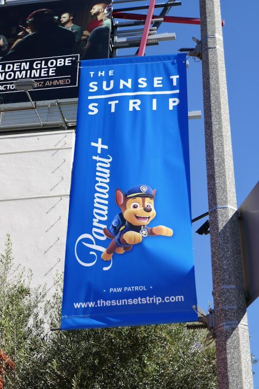 Paw Patrol Paramount+ Sunset Strip lamppost ad