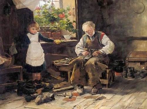 O Sapateiro, pintura de David Fulton.