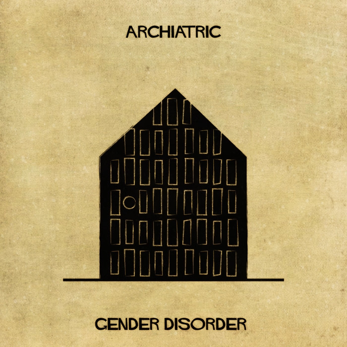 14-Gender-Identity-Disorder-Federico-Babina-ARCHIATRIC-Mental-Health-Illustrations-Paired-with-Architecture-www-designstack-co