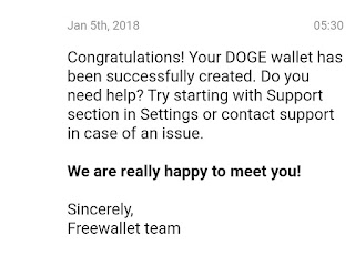 Dogecoin Cryptocurrency wallet mail verified