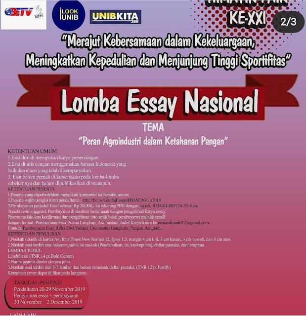 Lomba Essay, Poster dan Puisi Nasional Universitas Bengkulu 2019