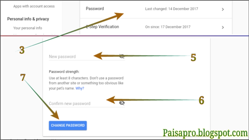 How to change / edit the password of gmail accounts