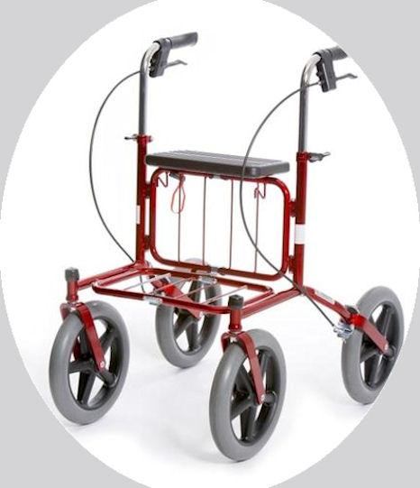 Isopyöräinen rollaattori.