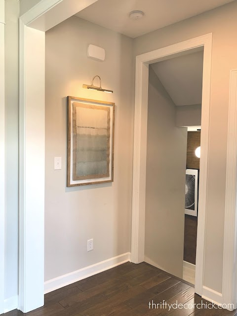 small hallway off basement stairs
