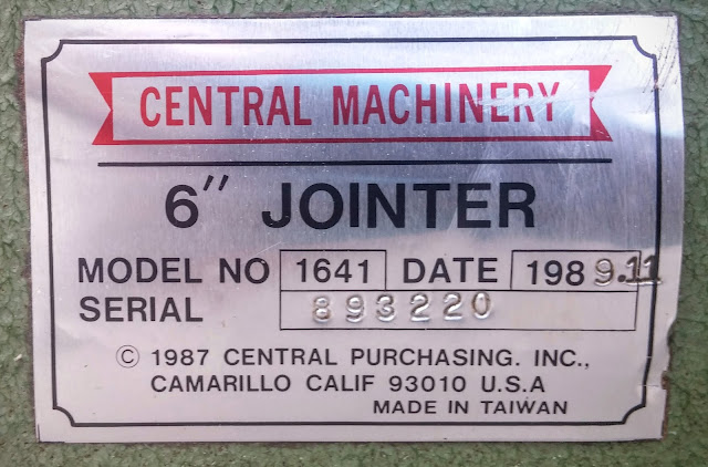 Label Central  Machinery Jointer For Shopsmith Model 1641 Date 1988.11