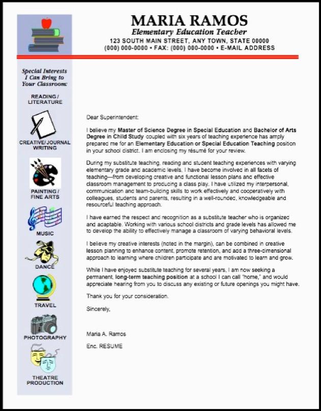 Sample Reference Letter For Elementary Teacher - Cover Letter