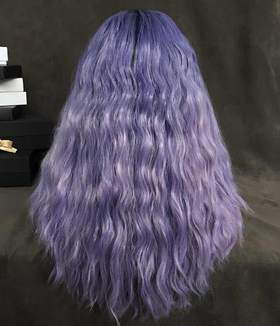 Lavender Dawn | Lavender Purple Long Loose Wave Synthetic Lace Front Wig