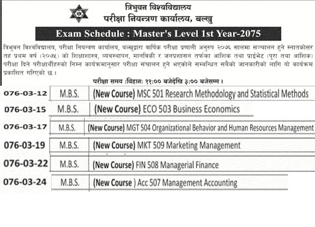 MBS Exam schedule -Exam Schedule of Master first Year 2076