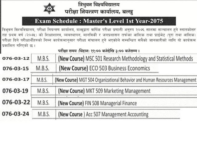 MBS Exam schedule -Exam Schedule of Master first Year 2076