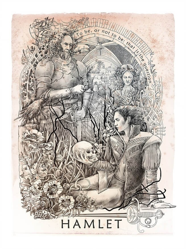 06-Hamlet-Irina-Vinnik-Intricate-Drawings-for-a-Shakespeare-Calendar-www-designstack-co