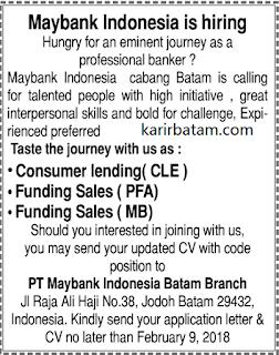 Lowongan Kerja PT. Maybank Indonesia Batam Branch (Ditutup 9 Februari 2018)