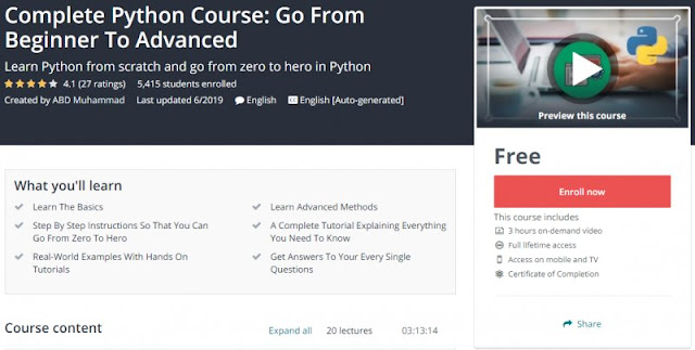 [100% Free] Complete Python Course: Go From Beginner To Advanced