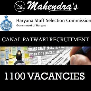 HSSC Canal Patwari Recruitment 2019 : 1100 Vacancies | Notification Released