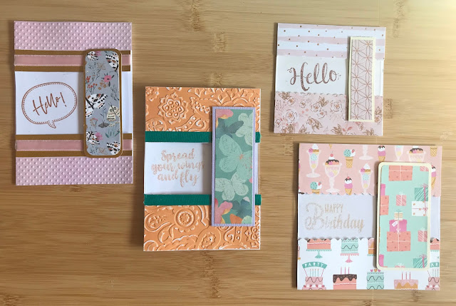 A selection of four cards all decorated very differently but made in the same style as given in this tutorial.