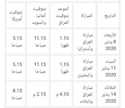 مواعيد مباريات العراق الأولمبي في كأس آسيا 2020 تحت 23 سنة