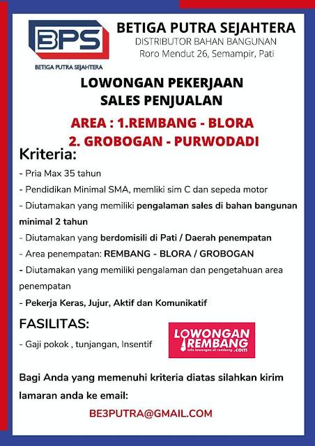 Lowongan Kerja Sales Penjualan Betiga Putra Sejahtera Rembang Blora Grobogan Purwodadi