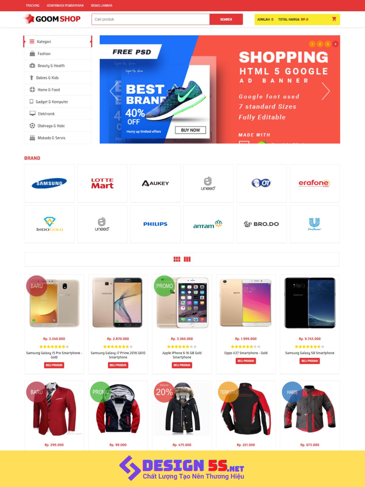Template blogspot bán hàng GoomShop chuẩn seo VSM75