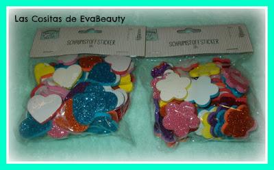 Bolsa decoraciones adhesivas goma eva con glitter tedi