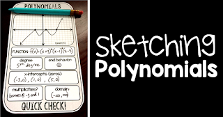 Are your Algebra 2 students struggling with the steps to sketch polynomials? In this post are links to activities I use in my Algebra 2 class to teaching and practice sketching polynomials. Also includes links to a few free pdf printables that work well in an Algebra 2 class.