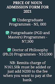 Price of Noun Admission Form for 2021
