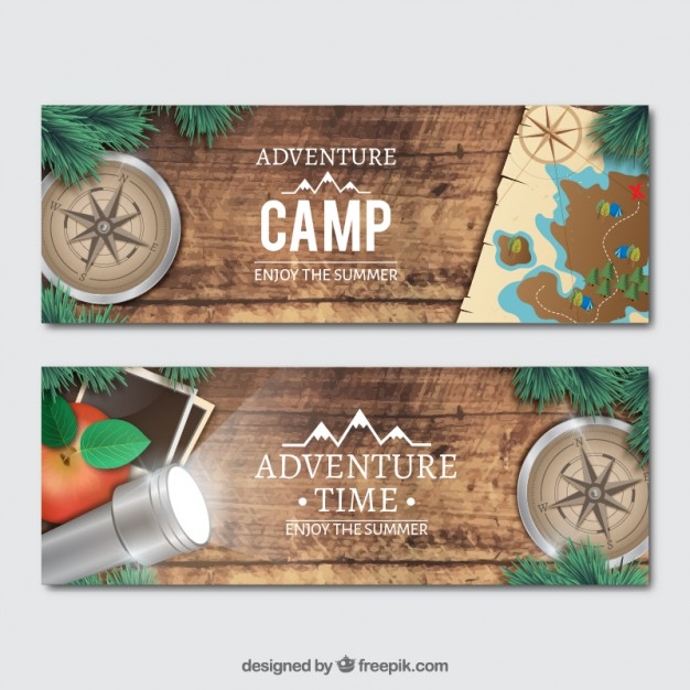 Banners with realistic adventure objects Free - Vector