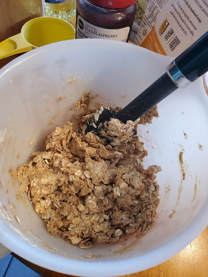 this is the batter to make a raspberry oatmeal bar with all the ingredients in the photo