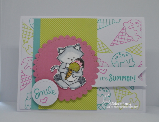 It's Summer by Debbie features Newton's Summer Treats, Summer Scoops, Frames & Flags, and Frames Squared by Newton's Nook Designs; #newtonsnook