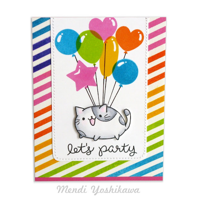 Greeting Farm Purfect Cats & Clearly Besotted Let's Party Balloon Birthday Card by Mendi Yoshikawa