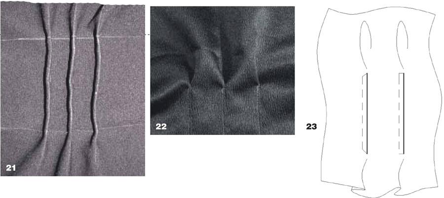 Настрочные складки по талии