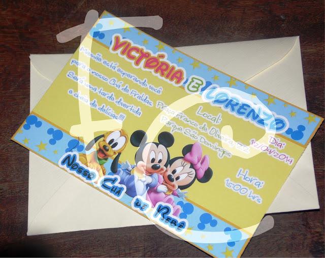 Convite Padrão 10X15 cm - Chá de Bebê  - Disney Baby