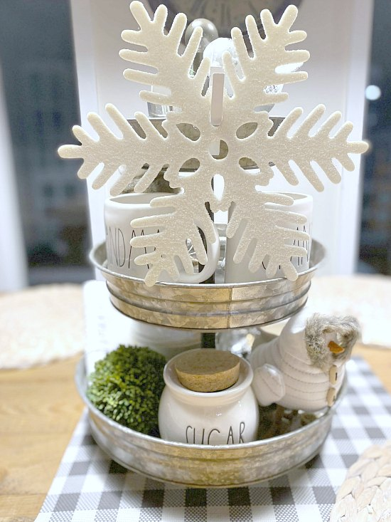 Decorate a Tiered Tray in a Winter Theme