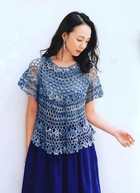 Blusa Azul Mesclado