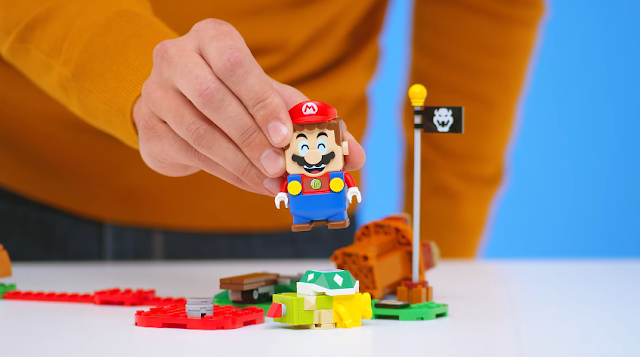 LEGO Super Mario set stomping Bowser Jr. happy facial expression