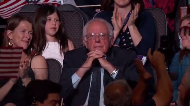 Bernie Sanders facial expression reaction Hillary Clinton name drop callout mention speech Democratic National Convention DNC 2016