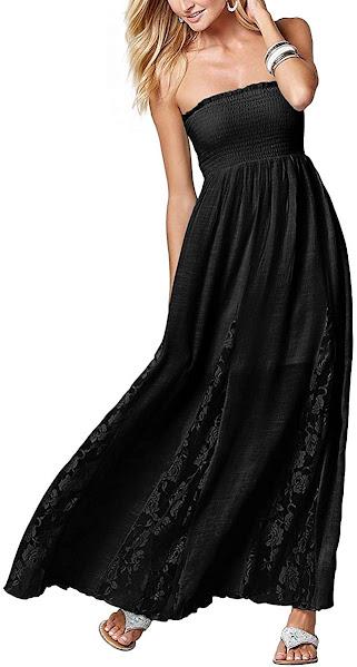 Good Quality Black Strapless Maxi Dresses for Women