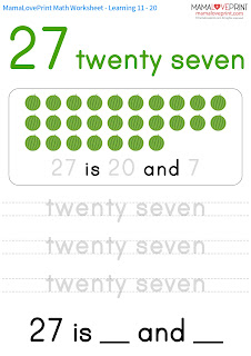 Mama Love Print K3工作紙 - 11 - 20 和 21 - 30 練寫工作紙 Eleven to Twenty and Twenty One to Thirty Copybook Math Worksheet Free Download