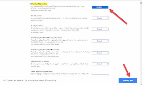 طريقة ايقاف خاصية الملء التلقائي للمعلومات في جوجل كروم