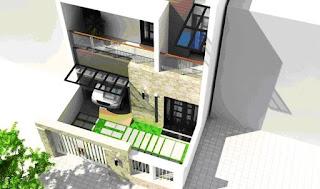 Xây nhà 1 trệt, 1 lầu trên đất 5x22.5m