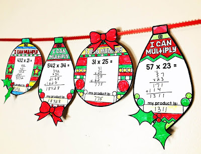 Multiplication holiday math ornaments
