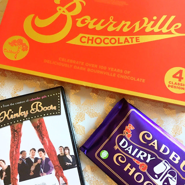 Bournville gift box, cadbury bar, kinky boots dvd